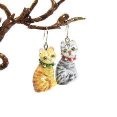 Cat Lover Earrings 0009 Ceramic Handmade Jewelry Art and Craft Gifts | madamepomm - Jewelry on ArtFire