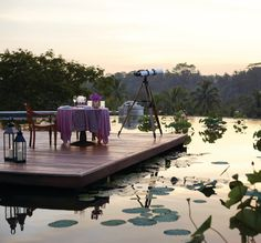 Sip and dine in sweet seclusion, surrounded by a reflection of the setting sun at @Four Seasons Resorts Bali. Stargazing optional.