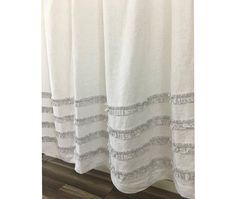 White Linen Shower Curtain With Grey Ticking Stripes 4 Rows Of Ruffles 72x72 72x85