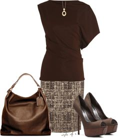 """Brown for Work"" by styleofe on Polyvore"