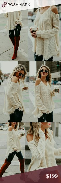 New! Cold Shoulder Top! Trendy and chic. Cold shoulder top with frayed bottom detail. Beautiful cream color. Perfect to pair with leggings or distressed denim. Throw on your favorite boots and you have the perfect stylish outfit. Happy shopping! Aluna Levi Tops Tunics