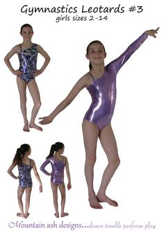 Gymnastics leotards 3 pdf sewing pattern ballet by tumblentwirl, $8.00