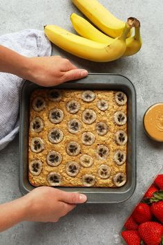 This Peanut Butter Banana Baked Oatmeal is perfectly sweetened with mashed banana, a little bit of maple syrup. This breakfast bake recipe is gluten-free and makes a great meal-prep recipe. Healthy Breakfast Meal Prep, Breakfast Bake, Breakfast Ideas, Breakfast Bowls, Brunch Ideas, Baked Oatmeal Recipes, Banana Recipes, Brunch Casserole, Baked Banana