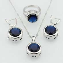 Zafiro azul redondo sistemas de la joyería para mujer collar colgante pendientes anillos tamaño 6 7 8 9 caja de regalo libre(China (Mainland))