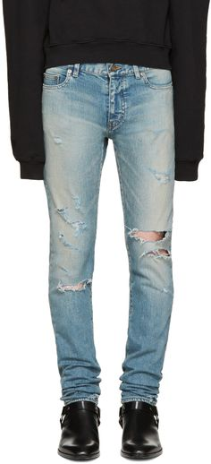 distressed slim fit jeans - Blue Saint Laurent Buy Newest Best MDkb4Q