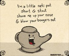 i'm a little neti pot short and stout, shove me up your nose & blow your boogers out