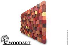 Абстракция ручной работы. Акустические стеновые панели (90х160). Woodartshop…