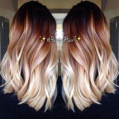 Ombre Medium Wavy Hairstyle - Balayage Hair Style