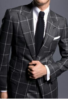 "Black knit Tie with Window pane. Follow ""Suit UP""SUITS ONLY!."