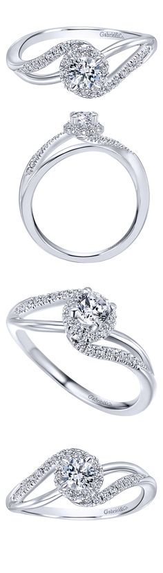 Propose with this gorgeous White Gold Contemporary Bypass Engagement Ring by Gabriel & Co. to the love of your life. This engagement ring has stunning details as the style makes it look like two b Engagement Jewelry, Diamond Engagement Rings, Engagement Rings Twisted Band, Jewelry Gifts, Jewelery, Diamond Rings, Ruby Rings, Boyfriend Gifts, Rings