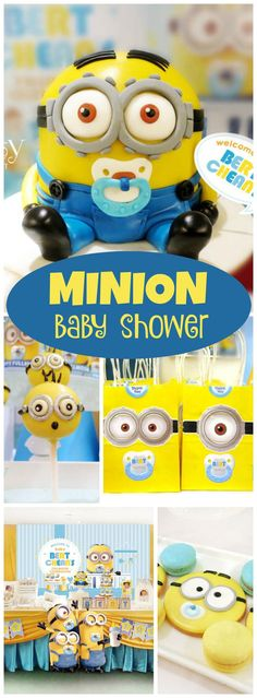 How adorable is this Minion baby shower?! See more party ideas at CatchMyParty.com!