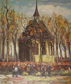 Congregation Leaving the Reformed Church in Nuenen (1884)  by Vincent van Gogh