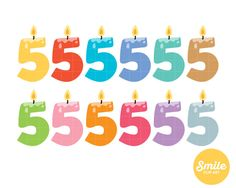 Number 5 Birthday Candle Clipart for Commercial Use - C0048
