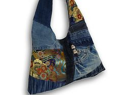 Recycled Old Jeans, Japanese Obi & Hand-dyed Indigo Fabric Hobo Bag