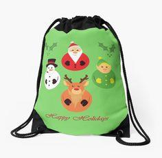 Happy Holidays! Drawstring Bag #holidays #christmas #reindeer #santa #snowman #elf