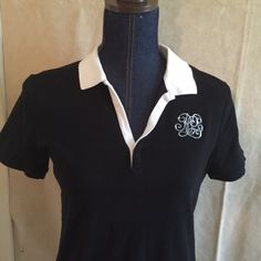 Sporty Ralph Lauren polo Very sporty black with white collar Ralph Lauren pilot with scripted embroidered letters on front!!!! Make it a Posh Box and save Ralph Lauren Tops Tees - Short Sleeve