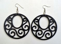 Black Open Scroll Wood Earrings from Stained by JohnLeslieStudios