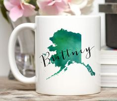 Alaska Mug / Personalized Mug / Custom State Mug / Friend Gift / Alaska Gift / 11 or 15 oz  The state of Alaska, personalized with your