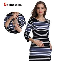 13aa818fe8a49 Emotion Moms Cotton Striped Summer Spring Skirt Pregnancy Nursing Dress for  pregnant Woman Maternity Dress Breastfeeding