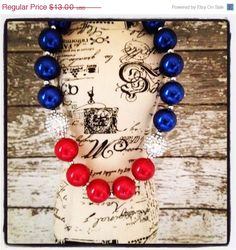 SALE Girls Chunky Necklace, Girls Bubblegum Chunky Necklace, 4th of July Necklace, Patriotic Necklace, Red White and Blue Necklace by CamdynReeseHeadbands on Etsy https://www.etsy.com/listing/190130960/sale-girls-chunky-necklace-girls