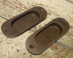 Cast Iron Inset Flush Door Pulls - Rounded (1 x Pair = 2 pulls)