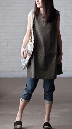 Sleeveless long Cotton Dress. $52.00, via Etsy.