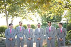 grey suits pink ties chad in white tie