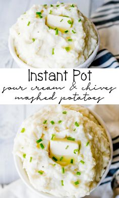 Instant Pot Sour Cream and Chives Mashed Potatoes perfect for the holidays! They are so easy to make in your pressure cooker, keeping that stovetop free for other holiday dishes. So creamy and full of flavor. Instapot Mashed Potatoes, Pressure Cooker Mashed Potatoes, Sour Cream Mashed Potatoes, Making Mashed Potatoes, Instant Potatoes, Thanksgiving Recipes, Thanksgiving Sides, Peeling Potatoes, Pressure Cooker Recipes