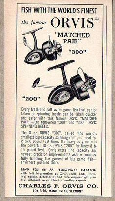 1960 Print Ad Orvis Model 200 & 300 Fishing Reels Charles Orvis Manchester,VT #MagazineAd