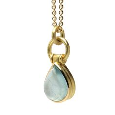 Aquamarine spring raindrop in 18k yellow gold. Granville & 13th welcomes Tefaf www.granville13th.com https://www.etsy.com/shop/GranvilleCollection