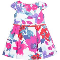 Girls blue and pink floral dress by Tutto Piccolo, made from a cotton fabric with a soft and lightweight feel. It has pretty puffed capped sleeves, a fitted bodice with a belt and the designer's logo charm attached to the waist. It is fully lined and has box pleating from the waist with tulle underlay giving a full and flared look to the hem, fastening with a concealed zip on the back.<br /> <ul> <li>97% cotton, 3% elastane (soft cotton feel)</li> <li>Lining: 100% cotton (soft feel)</li...