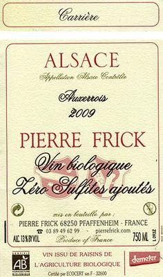 Grands Vins d'Alsace Pierre Frick - Vins secs sans sulfite ajouté