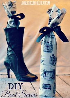 Water bottles fit snuggly inside boots to help them keep their structured shape when not being worn. Printed fabric and ribbons give these otherwise ugly shapers a little extra style. Get the tutorial at Living on the Cheap »   - WomansDay.com