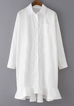Resort Dress Shirt with Bottom Details White More #shirtdress