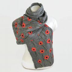 Lightweight grey felted merino wool scarf with silk poppies £45.00