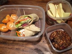 Hummus and Venison Steak Wrap Loaded with Vegetables; Oatmeal Berry Muffins