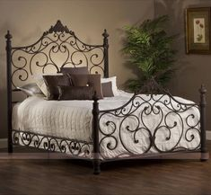 Hillsdale Baremore Mansion Bed - About Hillsdale Furniture Located in Louisville, Ky., Hillsdale Furniture is a leader in top-quality, affordable bedroom furniture. Iron Furniture, Bedroom Furniture Sets, Modern Furniture, Wrought Iron Bed Frames, King Size Bedroom Sets, Iron Headboard, Regal Design, Hillsdale Furniture, Bed Sets