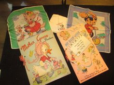"Mother Goose Hankies and My Busy Week ""Pick-A-Hanky"" Book 1948/49 Herrmann Hdkf."
