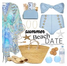 """Summer Date: The Beach"" by palmtreesandpompoms ❤ liked on Polyvore featuring Camilla, Lisa Marie Fernandez, Loren Stewart, Franklin, Huda Beauty, Marc Jacobs, Bobbi Brown Cosmetics, Yves Saint Laurent, MICHAEL Michael Kors and Quay"