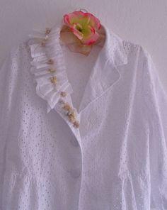Funky Jacket/ French Country White Eyelet Jacket/ Eco by KheGreen, $65.00