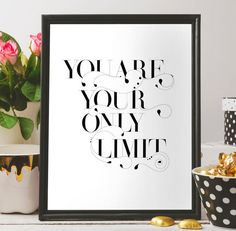 Inspirational wall quote You are your only by BeePrintableQuoteArt