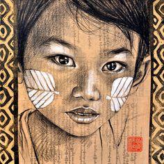Les joues au Thanaka - Birmanie