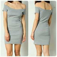 Kaylee Off The Shoulder Grey Bodycon Mini Dress ????New Arrival????  ??Grey Off The Shoulder Kaylee Sporty Chic Mini Bodycon Dress??  ??Sizes Available: Small & Medium??         ??No Trades Price Firm?? ??Ships Same Or Next Day?? Dresses Mini