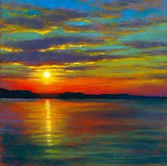 "Daily Paintworks - ""Sunset - Original Fine Art for Sale - © Rita Kirkman Pinturas Em Tom Pastel, Oil Pastel Art, Oil Pastels, Art Original, Landscape Art, Easy Landscape Paintings, Landscapes, Pastel Landscape, Landscape Photos"