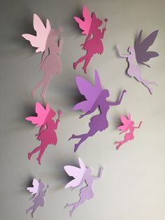 8 Paper Fairy Wall Art Fairy Wall Decal Whimsical Room Decor Fairies Paper Faires Nursery Wall Art Little Girl Room Decor Little Girls Room art Decal Decor Faires Fairies fairy Girl Nursery paper room Wall Whimsical Paper Wall Art, Diy Wall Art, Nursery Wall Art, Origami Flowers, Paper Flowers, Enchanted Forest Book, Enchanted Forest Nursery, Fairy Birthday Party, Paper Crafts Origami
