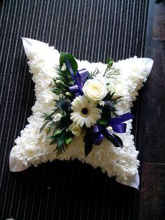 Cushion from 35.00 Funeral Flower Arrangements, Funeral Flowers, Casket Sprays, Flower Basket, Ikebana, Floral Wreath, Cushion, Wreaths, Grief
