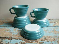 Vintage Hazel Atlas Moderntone Set - Teal - Cups  Bowls