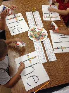 Trace sight words with cereal!