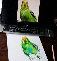Watercolor Tattoo budgie parakeet tattoos done by Mario Gregor IG handle inkedbymario