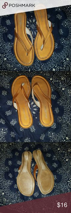 Selling this Eddie Bauer Golden tan flip flops in my Poshmark closet! My username is: GypsyCountryGal #shopmycloset #poshmark #fashion #shopping #style #forsale #Eddie Bauer #Shoes